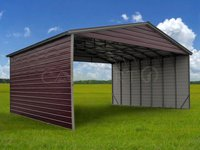 30x36 Vertical Roof Triple Wide Metal Carport Image