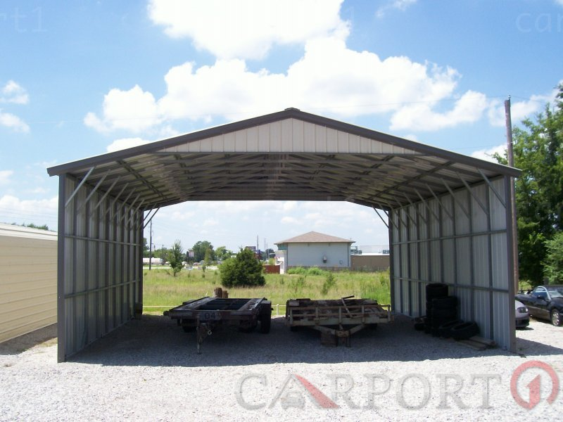 28x46 Vertical Roof Triple Wide Carport