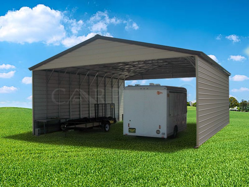 30x51 Vertical Roof Triple Wide Steel Carport Image