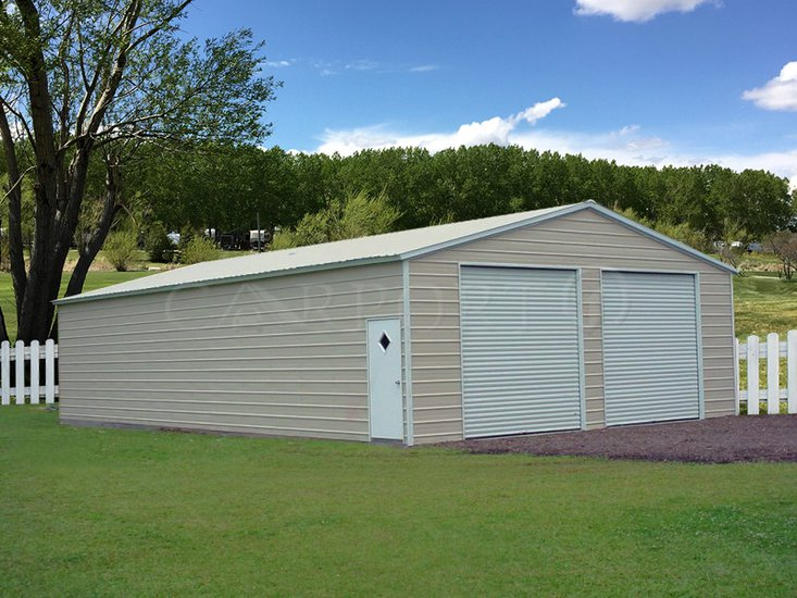 30x46 Vertical Roof Double Car Garage Image