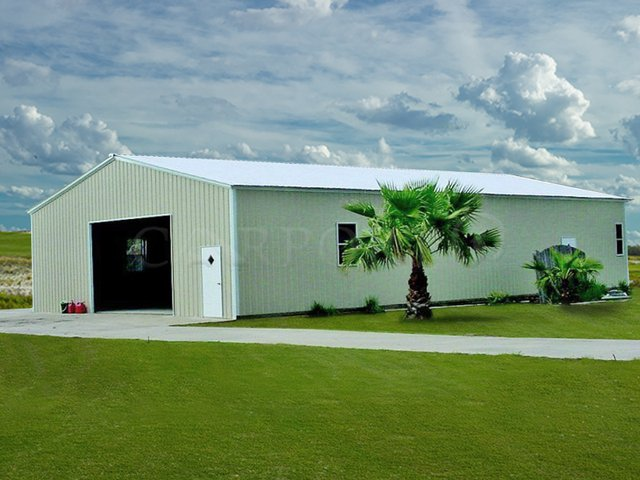 40x61 Vertical Roof Single Car Garage Image