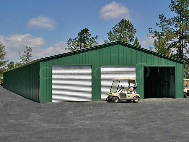 40x60 Vertical Roof Three-Car Garage Image