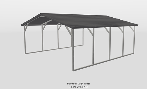 standard 12-24 ft wide metal building